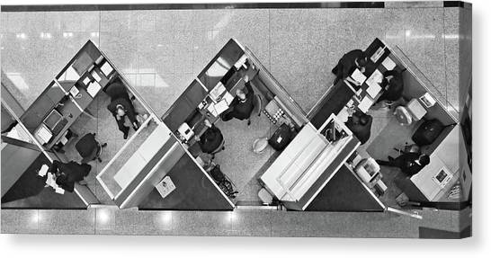 Aerial Canvas Print - Cubicle Life by Vincent Kohar