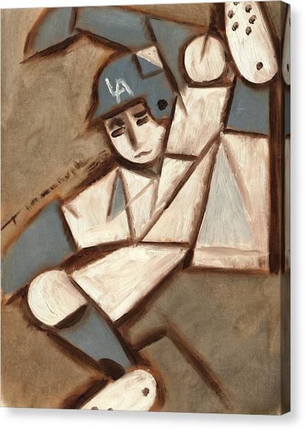 Cubism La Dodgers Baserunner Painting Canvas Print