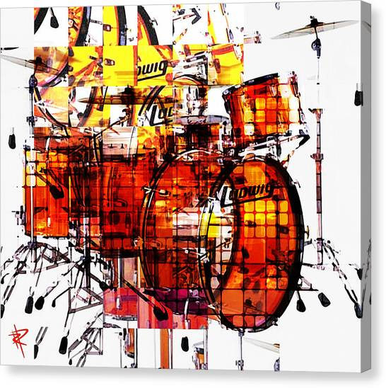 Drums Canvas Print - Cubist Drums by Russell Pierce