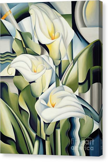 Abstract Flower Canvas Print - Cubist Lilies by Catherine Abel