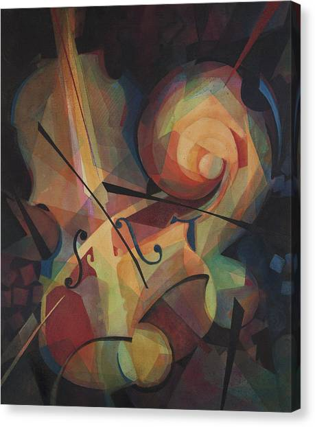 Violins Canvas Print - Cubist Play - Abstract Cello by Susanne Clark