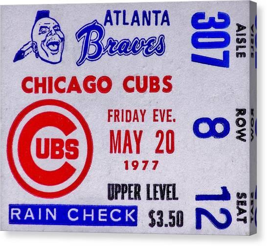 Atlanta Braves Canvas Print - Cubs At Braves 1977 by Benjamin Yeager