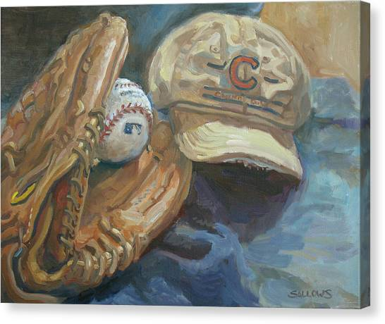 Cubs Fan Canvas Print by Nora Sallows