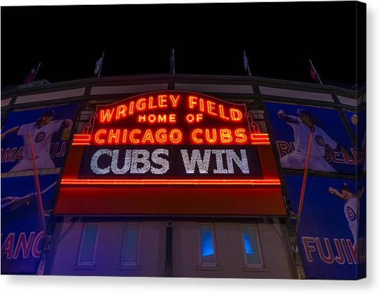 Wrigley Field Canvas Print - Cubs Win by Steve Gadomski