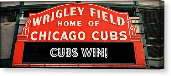 Wrigley Field Canvas Print - Cubs Win - Wrigley Sign by Stephen Stookey