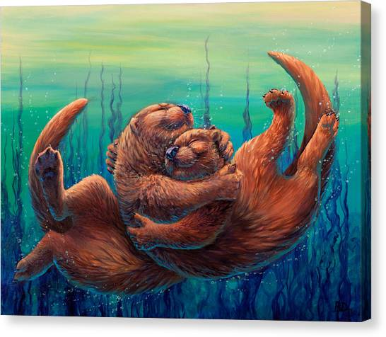 Otters Canvas Print - Cuddles And Bubbles by Beth Davies