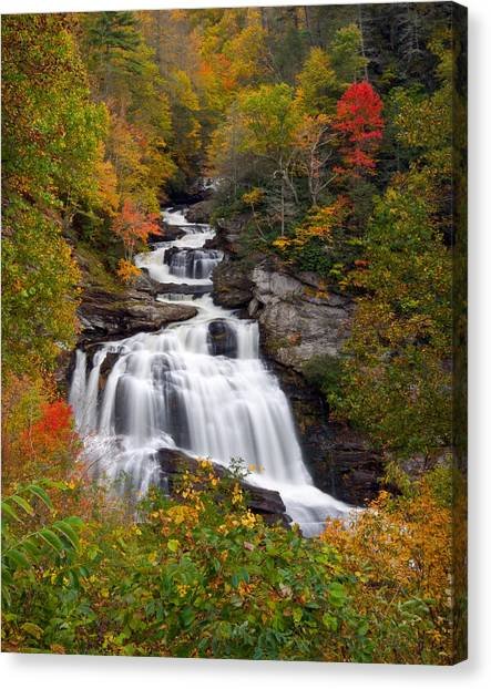 Cullasaja Falls - Wnc Waterfall In Autumn Canvas Print