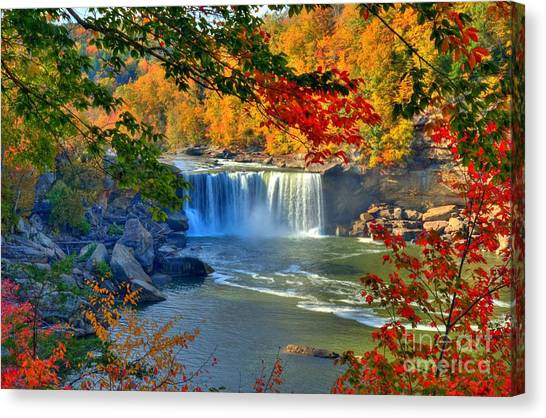 Canvas Print featuring the photograph Cumberland Falls In Autumn 2 by Mel Steinhauer