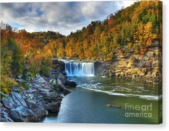 Autumn Scene Canvas Print - Cumberland Falls In Autumn by Mel Steinhauer
