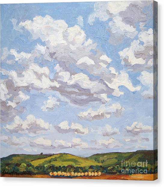 Canvas Print featuring the painting Cumulus Clouds Over Flint Hills by Erin Fickert-Rowland