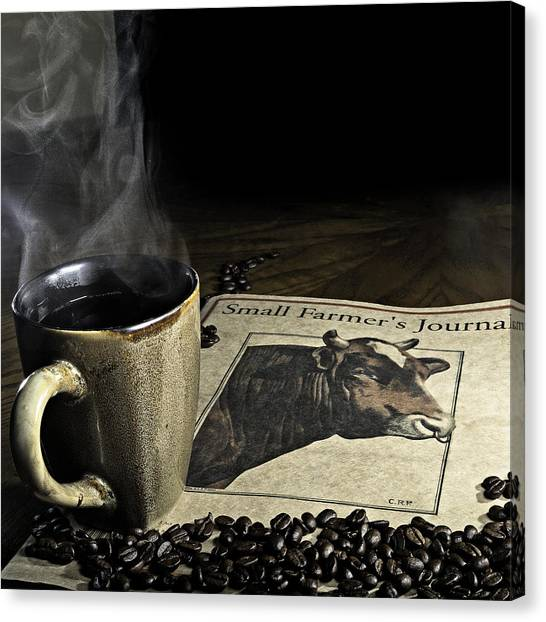 Cup Of Coffee And Small Farmer's Journal 1 Canvas Print