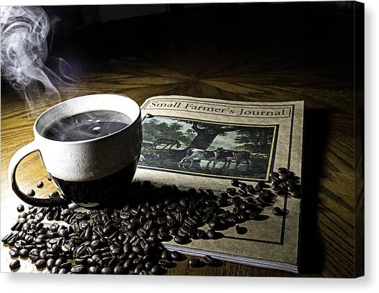 Cup Of Coffee And Small Farmer's Journal 2 Canvas Print