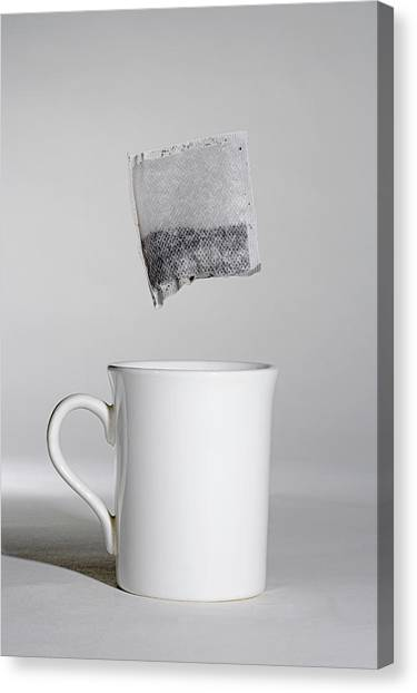 Tea Leaves Canvas Print - Cup Of Tea by Simon Booth/science Photo Library