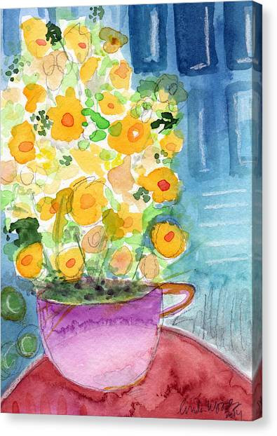 Tea Leaves Canvas Print - Cup Of Yellow Flowers- Abstract Floral Painting by Linda Woods
