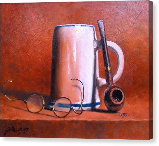 Canvas Print - Cup Pipe And Glasses by Jim Gola