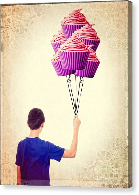 Happy Birthday Canvas Print - Cupcake Balloons by Edward Fielding