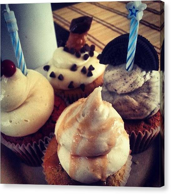 Bakeries Canvas Print - #cupcakes For The #birthdayboy by Alyson Schwartz