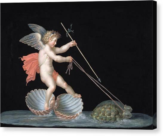 Tortoises Canvas Print - Cupid Being Led By Tortoises by Michelangelo Maestri