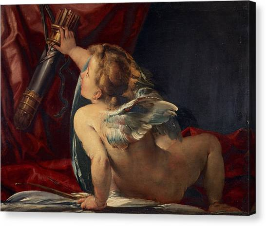 Procaccini Canvas Print - Cupid Cut From A Larger Picture by Giulio Cesare Procaccini
