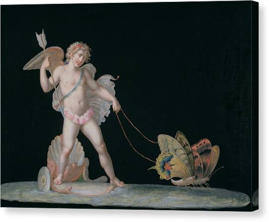 Conch Shells Canvas Print - Cupid Led By Butterflies by Michelangelo Maestri