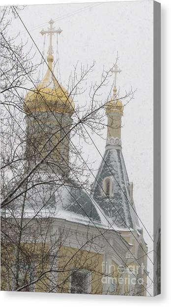 Moscow Skyline Canvas Print - Cupola And Belfry Of The Church Of St Elijah The Holy Prophet I by Anna Yurasovsky