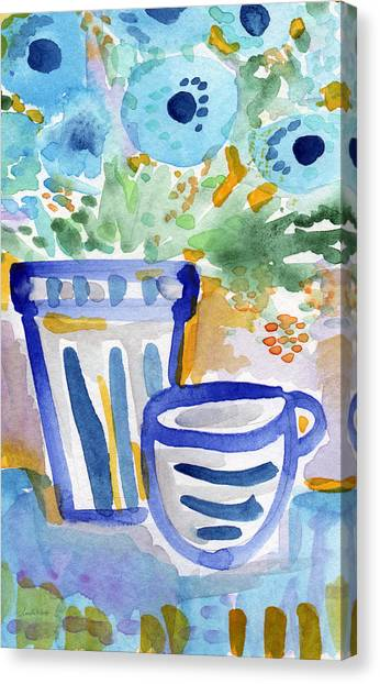 Tea Set Canvas Print - Cups And Flowers-  Watercolor Floral Painting by Linda Woods