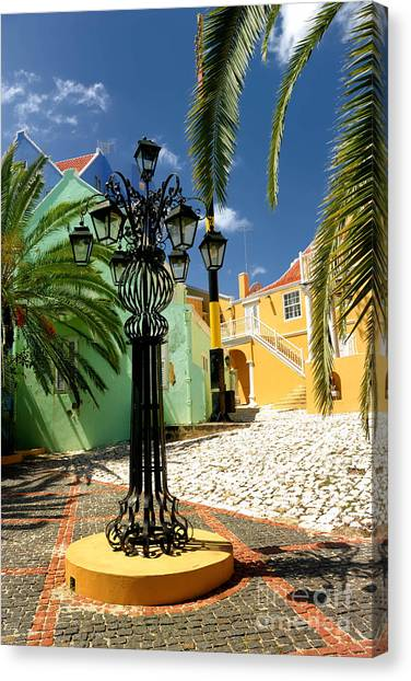Streetlights Canvas Print - Curacao Colorful Architecture by Amy Cicconi
