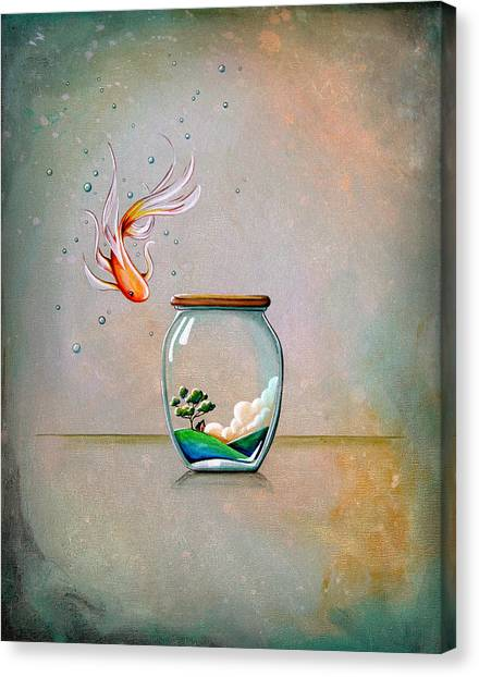 Goldfish Canvas Print - Curiosity by Cindy Thornton