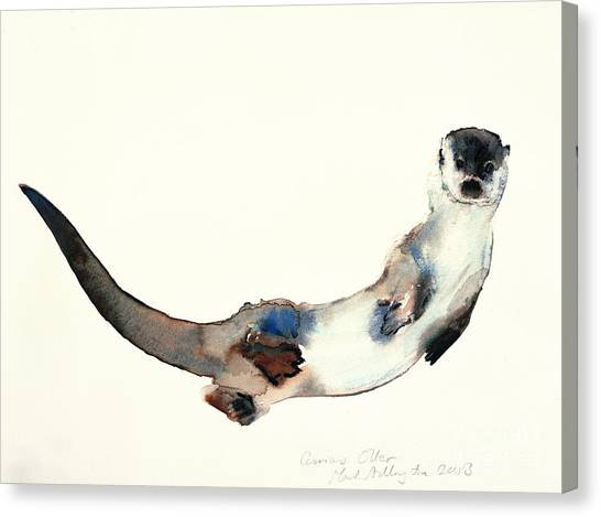 Otters Canvas Print - Curious Otter by Mark Adlington