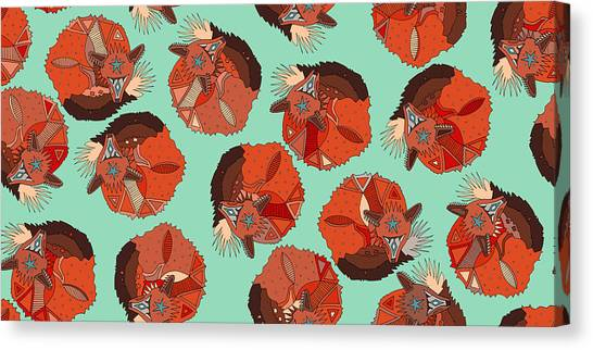 Patterns Canvas Print - Curled Fox Polka Mint by Sharon Turner
