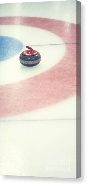 Iced Tea Canvas Print - Curling Stone In A Distance by Priska Wettstein