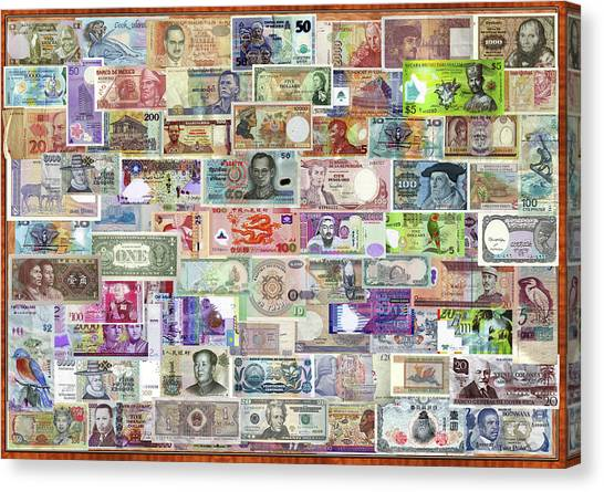 Currency Canvas Print - Currency Of The World by Garry Walton