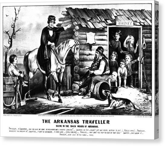Carousel Collection Canvas Print - Currier & Ives The Arkansas Traveller by Granger