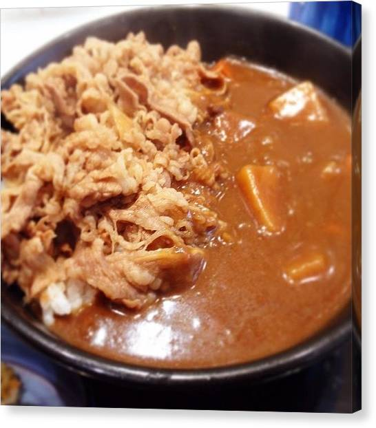 Yummy Canvas Print - #curry #gyudon  #lunch  #food by Takeshi O
