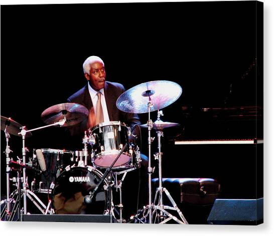 Curtis Boyd On Drums Canvas Print by Cleaster Cotton