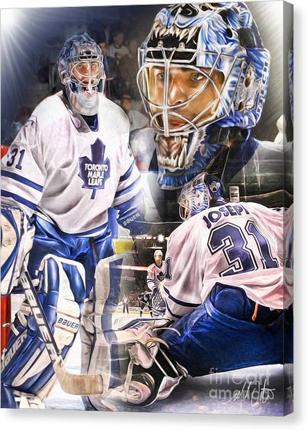 Toronto Maple Leafs Canvas Print - Curtis Joseph Collage by Mike Oulton