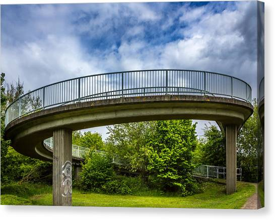 Curved Bridge. Canvas Print by Gary Gillette