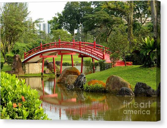 Curved Red Japanese Bridge And Stream Chinese Gardens Singapore Canvas Print
