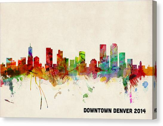 Denver Canvas Print - Custom Denver Skyline by Michael Tompsett
