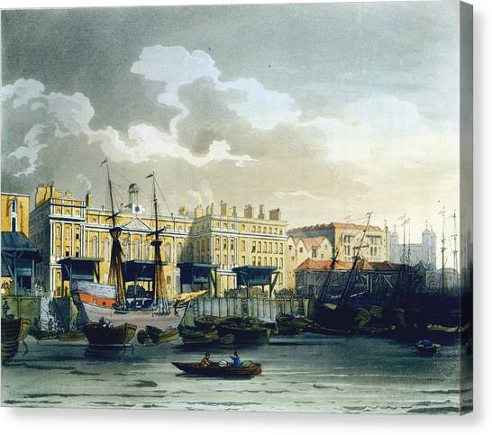 Tower Of London Canvas Print - Custom House From The River Thames by T. & Pugin, A.C. Rowlandson
