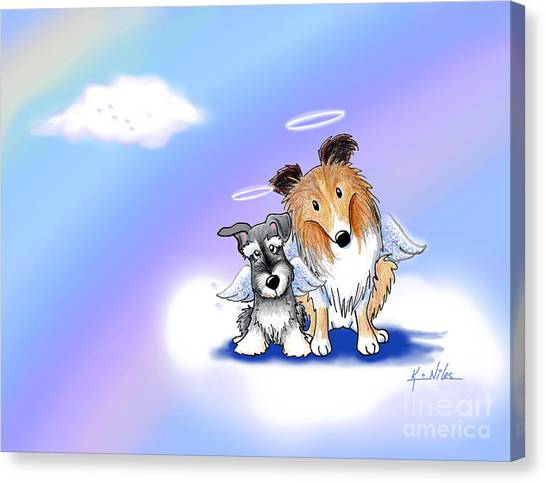 Schnauzers Canvas Print - Custom Rainbow Bridge by Kim Niles