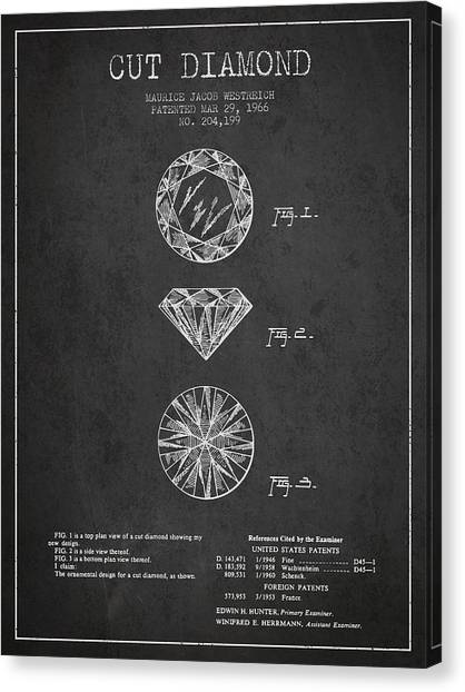 Gemstones Canvas Print - Cut Diamond Patent From 1966 - Dark by Aged Pixel