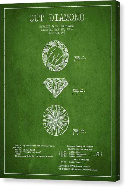 Gemstones Canvas Print - Cut Diamond Patent From 1966 - Green by Aged Pixel