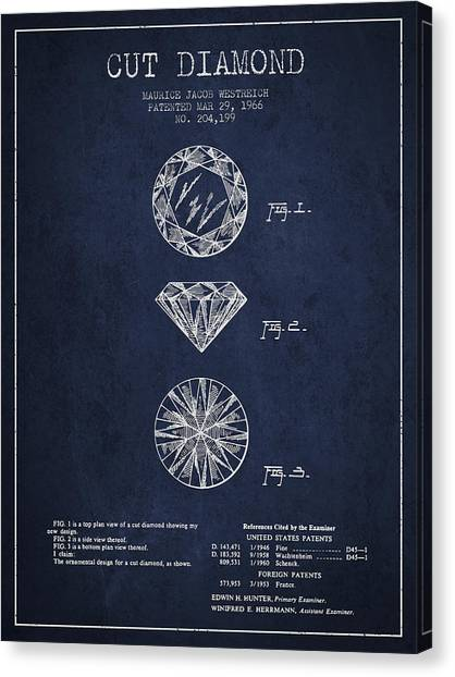 Gemstones Canvas Print - Cut Diamond Patent From 1966 - Navy Blue by Aged Pixel