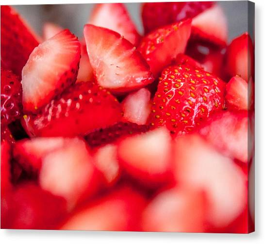 Cut Strawberries Canvas Print