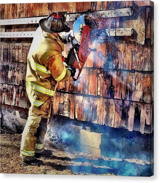 Firefighters Canvas Print - Cut Work #firefighter #saw #fire #jifd by Drew Castelhano