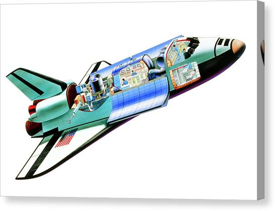 Space Ships Canvas Print - Cutaway Illustration Of Space Shuttle With Crew by A. Gragera, Latin Stock/science Photo Library