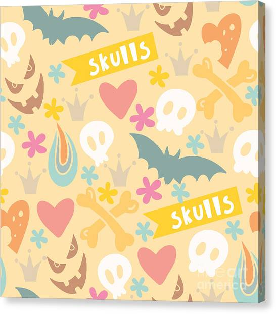 Bats Canvas Print - Cute Cartoon Seamless Pattern With by Marushabelle