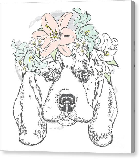 Clothing Canvas Print - Cute Dog In A Wreath Of Roses . Vector by Vitaly Grin