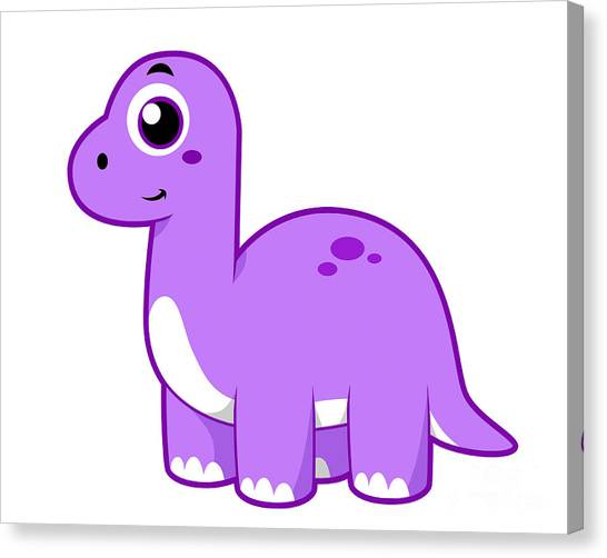 Brontosaurus Canvas Print - Cute Illustration Of A Brontosaurus by Stocktrek Images